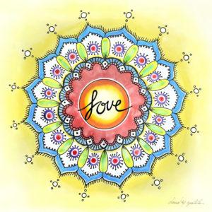 Watercolor Love Mandala
