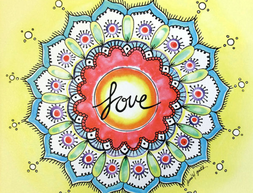 Watercolor Love Mandala Wall Art